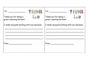 Children write a positive comment and give to their Talk Partner, before changing.